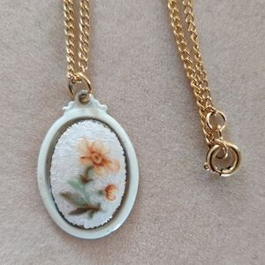 Antique guilloche flower necklace